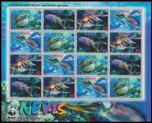 Nevis WWF Caribbean Reef Squid Sheetlet of 4 sets SG#2155-2158 SC#2380-2383