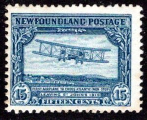 159, NSSC, Newfoundland, 15c deep blue, MLHOG, VG/F, Transatlantic Flight,S...