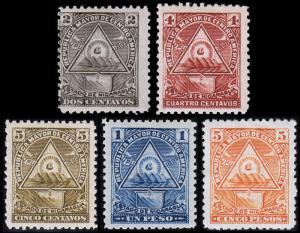 Nicaragua Scott 109B, 109D, 109E, 109K, 109M (1898) Mint H F-VF, CV $77.50 B