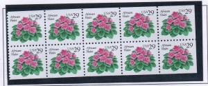 United States Sc 2486a 1993 29 c African Violet stamp booklet pane mint NH