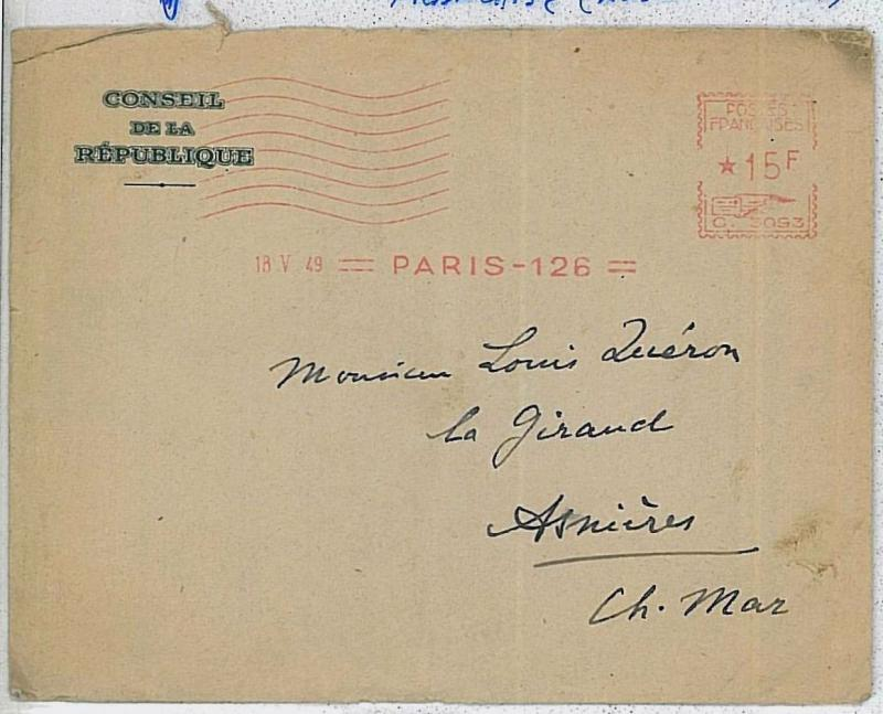 FRANCE -  POSTAL HISTORY:  AUTOMATIC POSTMARK from CONSEIL de la REPUBLIQUE 1949