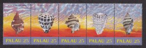 Palau # 216a, Sea Shells, Strip of Five Different, NH, 1/2 Cat.