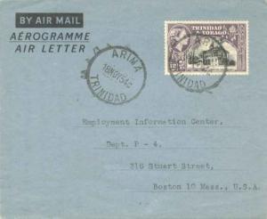Trinidad 12c QEII Town Hall at San Fernando 1954 Arima, Trinidad Air Letter A...