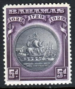 Bahamas KGV 1930 Tercentenary 5d Black Deep Purple SG128 Mint Hinged