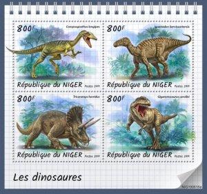 NIGER - 2019 - Dinosaurs - Perf 4v Sheet - MNH