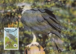 Guyana 1990 Maxicard Sc #2242 $5 Harpy eagle WWF