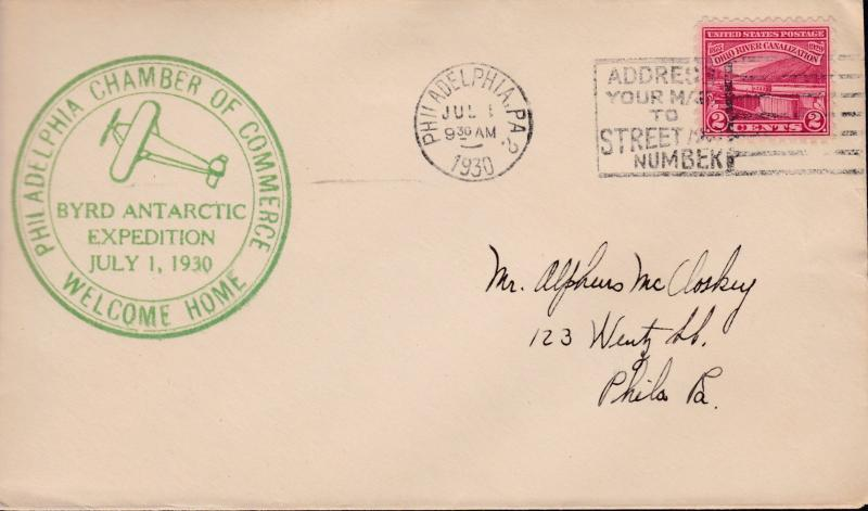U.S 1930. Byrd Antarctic Expedition Welcome Home Cover Philadelphia C.ofC