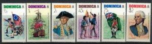 Dominica #472-7a* NH  CV $5.60  US Bicentennial complete set & Souvenir sheet