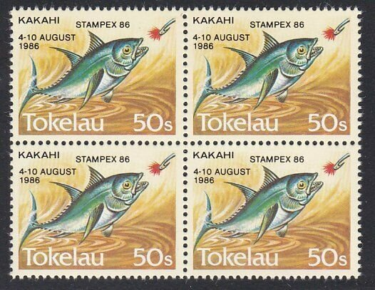 TOKELAU 1986 50s Fish with STAMPEX 86 overprint MNH - block - scarce........H884