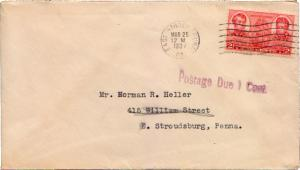 United States Pennsylvania East Stroudsburg 1937 machine  2c Navy  Shortpaid ...