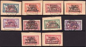 1922 Memel complete airmail used set Sc# C20 / C29 CV: $150.00