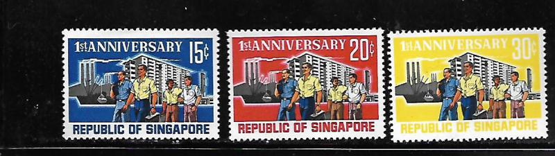 SINGAPORE, 73-75, MNH, FIRST ANNIV. OF THE REPUBLIC