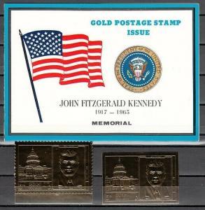 Ras Al Khaima, Mi cat. 298 A-B. Pres. Kennedy Gold Foils. Souvenir Folder. ^