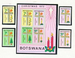 BOTSWANA - # 92-95 & 95a - VFMNH set & S/S - Christmas - 1972