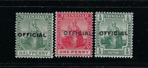 TRINIDAD SCOTT #O8-O10 1909-1910 OFFICIAL OVERPRINTS-   MINT LIGHT HINGED