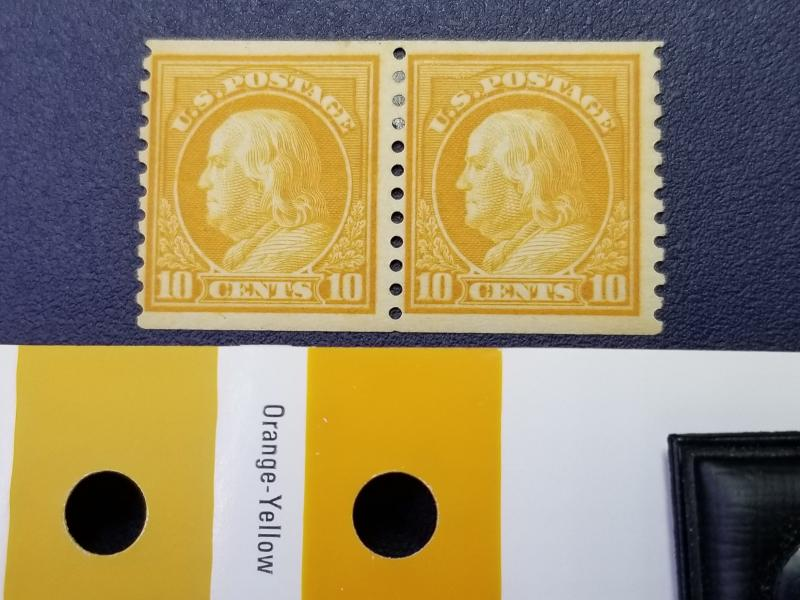 SC #457 Mint OG Yellow Orange 10 cent Franklin Coil Pair