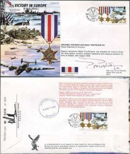JS45/12FC Victory in Europe sign by Colonel Patrick Anthony Porteous VC. (F)