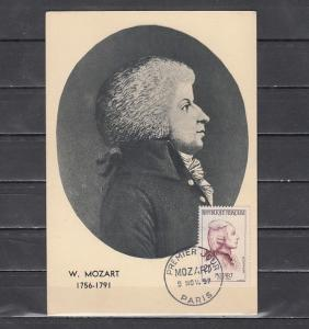 France, Scott cat. 862. Composer Mozart issue. Maximum Card.