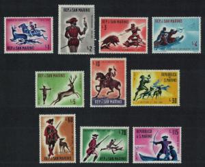 San Marino Hunting Dogs Horses 1st issue Historical Scenes 10v SG#626-635