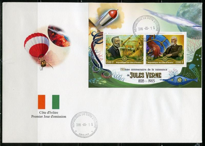 IVORY COAST 2018 190th  BIRTH ANN OF JULES VERNE SHEET OF TWO  FDC