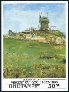 Bhutan 1016 sheet,MNH.Mi Bl.324. Vincent Van Gogh,1991.Le Moulin de la Galette.