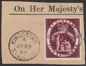 ST VINCENT 1896 5/- SG53b fine used on piece - Kingston cds.................C624