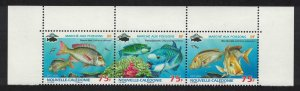 New Caledonia Fish Top strip of 3v SG#1461-1463 MI#1489-1491