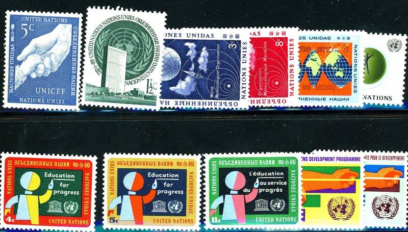 UNITED NATIONS #2,5,49-50,125,127,134-136,164,165 SET OF 11 MNH