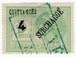 (I.B) France Colonial Revenue : Indo-China Quittances 4c on 3c OP (overprint)