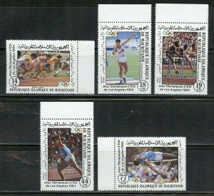 MAURITANIA 1984 LOS ANGELES OLYMPIC GAMES SET & SOUVENIR SHEET MINT NH