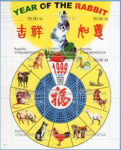 Turkmenistan 1998 YEAR OF THE RABBIT CHINESE NEW YEAR Sheetlet Composite MNH