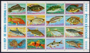Equatorial Guinea 1975 Mi#688/703 FISHES Sheetlet (16) PERFORATED MNH