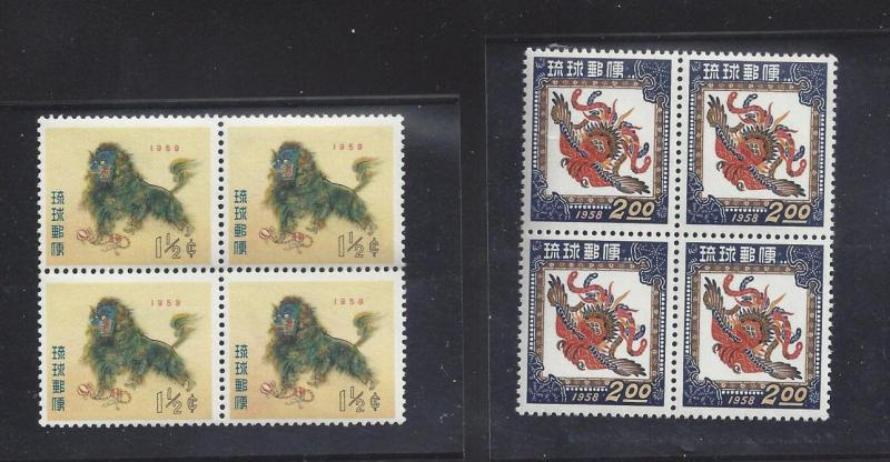 Ryukyu 55 42 MNH Blocks of 4 - New Year