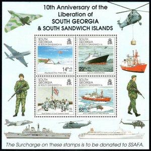South Georgia B4a S/S, MNH. Liberation, 10th anniv. Air Force, Navy, Flags, 1992