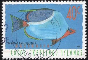 Cocos Islands 306 - Used - 40c Saddled Butterflyfish (1995) (cv $0.95)