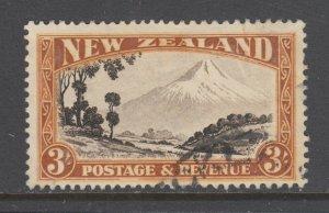 New Zealand Sc 198 used. 1935 3sh Mt. Egmont, neat corner cancel, sound,