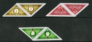 LITHUANIA 393-395 MNH PAIRS SCV $2.50 BIN $1.50 ART