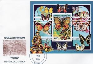 Central African Republic 1990 Butterflies s/s Perforated in Official FDC