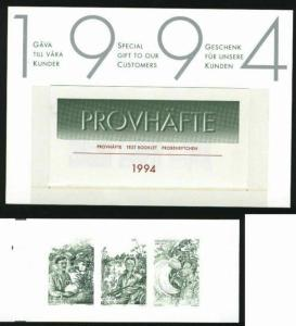 Sweden. Test Booklet 1994 To Foreign Lands Engraver: M Morck.