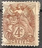 France-Off.Crete  4 1902 MH 4c Liberty,Equality & Fraternity