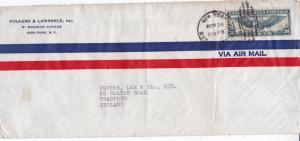 United States 1943 Folkard Lawrence New York to Bradford Cover VGC