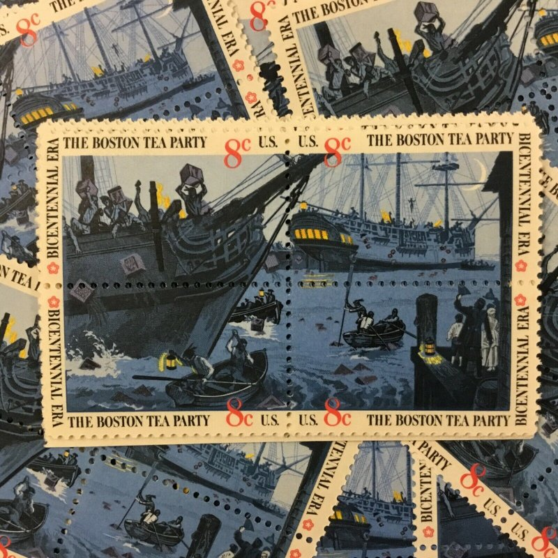 1480-1483     Boston Tea Party     25 MNH  8 cent blocks of 4     Issued in 1972