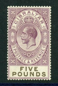 GIBRALTAR SCOTT#93, SG#108 5 POUND VIOLET & BLACK  MINT LIGHT HINGED