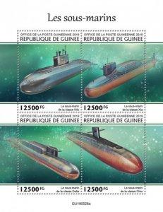 GUINEA - 2019 - Submarines - Perf 4v Sheet - M N H