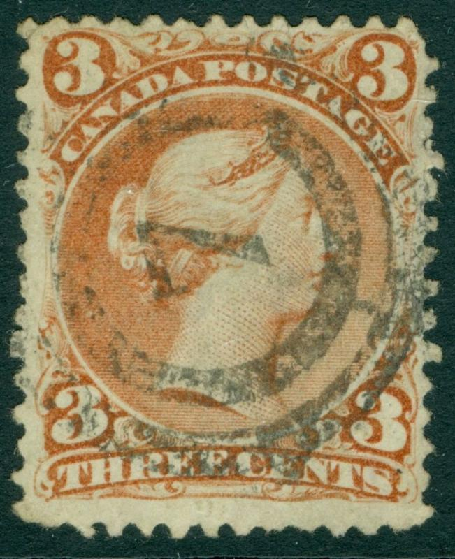 EDW1949SELL : CANADA 1868 Scott #25a Used. Watermarked. PSAG Cert. Catalog $475.