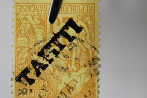 French Tahiti  inverted overprint sc#12 15 used cv$7250 Original or Forgery?
