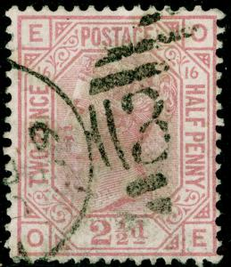 SG141, 2½d rosy mauve PLATE 16, USED. Cat £60. OE