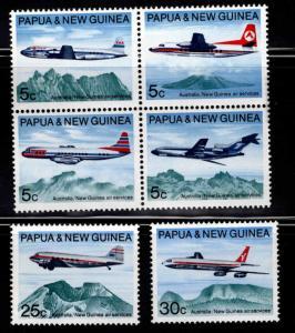 PNG Papua New Guinea Scott 305-310 MNH** Aircraft set
