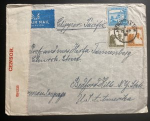 1940 Jerusalem Palestine Airmail Censored Cover To Bedford Hills NY USA