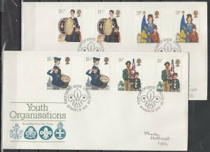 Great Britain, Scott cat. 983-986. Scouts & Youth Org. G-Pr. First day cover. ^